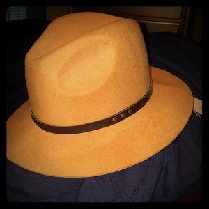 Tan Fedora Hat/ Brown Leather Trim